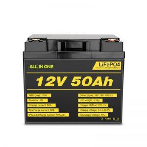 Paquete de batería Lifepo4 recargable de 12V 50Ah para ciclo eléctrico