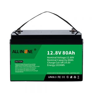 Batería de litio Solar RV Marine LiFePO4 12V 80Ah de substitución de ácido de chumbo máis popular