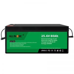Batería LFP de seguridade de 25,6V 80Ah / longa vida para caravana / caravana / UPS / carro de golf 24V 80Ah